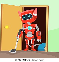 female red robot cleaning