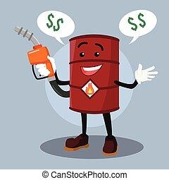 barrel man offering overpriced oil
