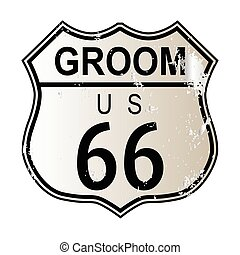 Groom Route 66 traffic sign over a white background and the...