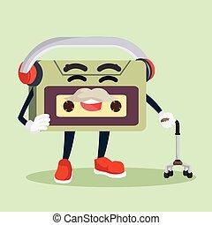 old audio tape wearing earphone
