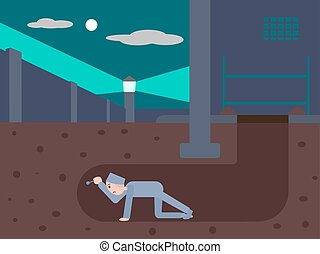 Prisoner escapes from prison through a tunnel. Cartoon...