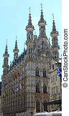 Medieval city hall in Leuven with blue sky