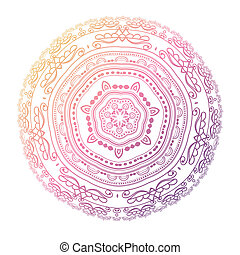 Mandala Circle pattern in light pink, violet and blue colors...