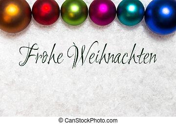 pelotas, colorido, Alemán, nieve, palabras, alegre, navidad