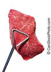 Tongs Holding Raw Beef Loin Top Sirloin Steak Isolated on...