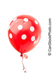 red balloon with polka dots