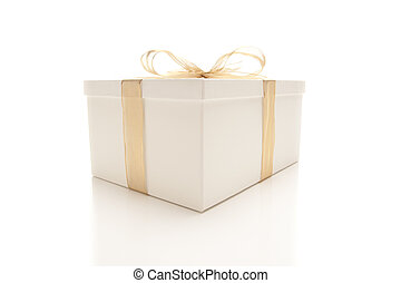 White Gift Box with Gold Ribbon Isolated