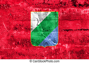 Flag of Abruzzo, Italy, painted on dirty wall