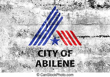 Flag of Abilene, Texas, USA, painted on dirty wall