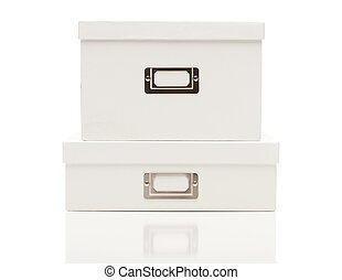 Stacked Blank White File Boxes with Lids on White