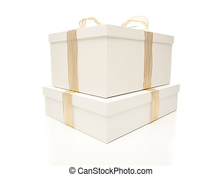 Stacked White Gift Boxes with Gold Ribbon Isolated - Stacked...