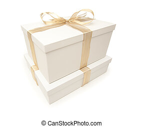 Stacked White Gift Boxes with Gold Ribbon Isolated