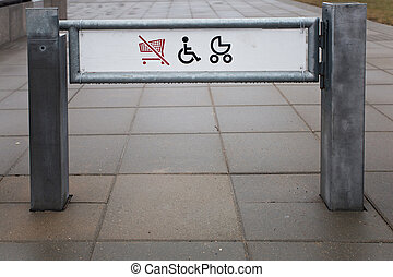 Shop exit for physically challenged persons and strollers...