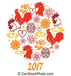 Greeting card with symbols of 2017 by Chinese calendar