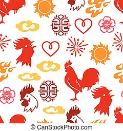 Seamless pattern with symbols of 2017 by Chinese calendar