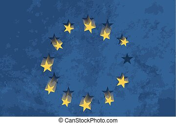 European Union flag with falling stars and grunge texture -...