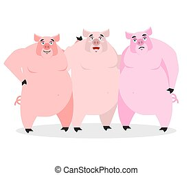 3 pigs. Three piglets. Funny farm animals. Good character from fairy tale. Thick pink beast. Lovely boar
