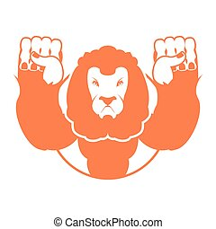 Angry lion. Aggressive wild beast. Logo big leo. Evil wild animal. Emblemo for sports team