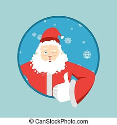 Santa Claus thumbs up well and winks Sign all right Merry...