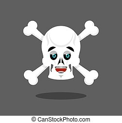 Happy skull emotion Crossbones lucky skeleton head