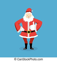 Santa Claus thumbs up well and winks. Sign all right. Merry...