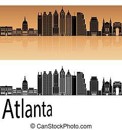 Atlanta V2 skyline in orange background in editable vector...