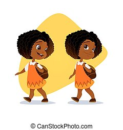 Funny afro american little girl going with a backpack vector...