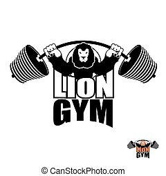 Lion Gym Logo. Angry leo strong athlete. Barbell and Aggressive big beast. Evil wild animal bodybuilder