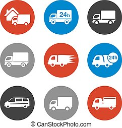 Vector icons - delivery method, free delivery and quick delivery home, truck, car symbols