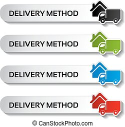 Vector buttons - delivery method, truck labels -...