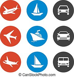 Vector icons - delivery method or shipping on vacation - boat, plane, car
