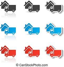Vector icons - delivery method, free delivery and quick delivery home, truck symbols