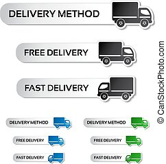 Vector buttons - delivery method, free delivery and fast delivery, truck labels