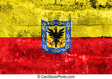 Flag of Bogota, Colombia, painted on dirty wall