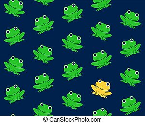 Seamless pattern of green frogs with one in gold - Seamless...