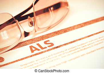 ALS - Printed Diagnosis on Red Background 3D Illustration -...