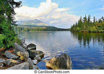Strbske pleso lake - Wide angle landscape shot of Strbske...