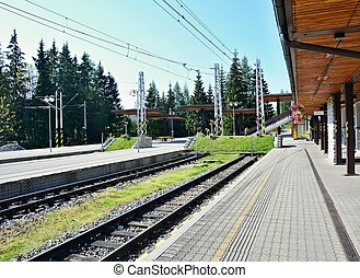 Strbske pleso railway station - Empty platforms without...