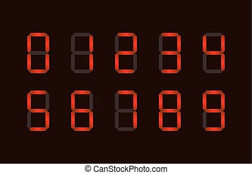 Set of red digital number signs made up from seven segments...