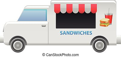 Sandwich food truck vector icon - Vector illustration of a...
