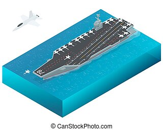 Aircraft assigned to the nuclear-powered aircraft carrier. Isometric vector Navy Nuclear Aircraft carrier