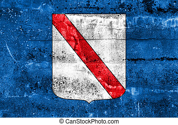 Flag of Campania, Italy, painted on dirty wall