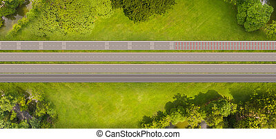 Top view over the road and highway