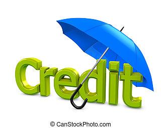 Credit umbrella - 3d image, Business conceptual, credit...