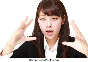 young Japanese businesswoman with supernatural power -...
