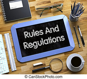 Rules And Regulations on Small Chalkboard. 3D.
