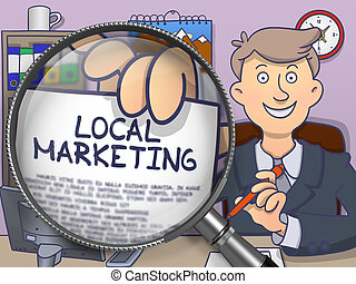 Local Marketing through Lens Doodle Design - Business Man in...