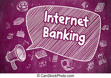 Internet Banking - Doodle Illustration on Purple Chalkboard...