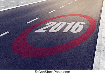2016 speed limit sign on highway, new year concept