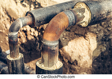 Maintenance of industrial pipes for heating water transport,...
